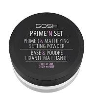 Gosh Prime'n Set Primer & Mattifying Setting Powder Two in One - Прозрачна пудра за лице с матиращ ефект - фон дьо тен