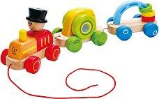 Влакче - Дървена играчка за дърпане - играчка