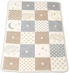 """Бебешко одеяло - Овчици и квадрати - Размери 75 x 100 cm от серия """"Panda"""" -"""