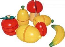 Плодове и зеленчуци - Комплект дървени фигури - продукт
