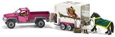 """Пикап с фургон за коне - Комплект фигури и аксесоари от серията """"Клуб по езда"""" -"""