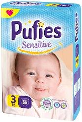 Pufies Sensitive 3 - Midi - Пелени за еднократна употреба за бебета с тегло от 4 до 9 kg -