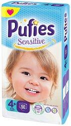 Pufies Sensitive 4+ Maxi - Пелени за еднократна употреба за бебета с тегло от 9 до 16 kg -