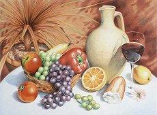 Комплект за рисуване по номера - Still life fruit - Комплект за картина с размер 30 x 40 cm