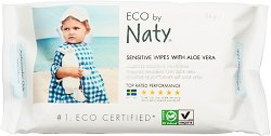 Naty Sensitive Wet Wipes with Aloe Vera - Бебешки мокри кърпички с екстракт от алое вера в опаковка от 56 броя - мокри кърпички