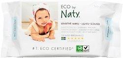 Naty Sensitive Wet Wipes - Lightly Scented - Бебешки мокри кърпички с лек аромат в опаковка от 56 броя - мокри кърпички