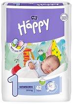 Bella Baby Happy - New Born 1 - Пелени за еднократна употреба за бебета с тегло от 2 до 5 kg -