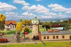 ЖП сервизно депо с водна кула и малка въглищна станция - Сглобяем модел -