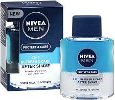 "Nivea Men Protect & Care 2 in 1 Refresh & Care After Shave - Двуфазен лосион за след бръснене от серията ""Protect & Care"" - гел"