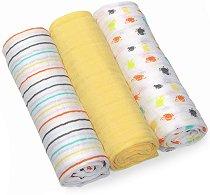 Бебешки памучни пелени - Комплект от 3 броя - продукт