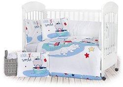 Спален комплект за бебешко креватче - 6 части с олекотена завивка и обиколник - гърне