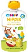 HIPP HiPPiS - Био забавна плодова закуска с ябълки, круши и банан - Опаковка от 100 g за бебета над 4 месеца - пюре