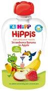 HIPP HiPPiS - Био забавна плодова закуска ябълки с ягоди и банан - Опаковка от 100 g за бебета над 4 месеца - пюре