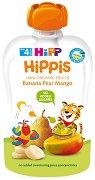 HIPP HiPPiS - Био забавна плодова закуска с банан, круша и манго - Опаковка от 100 g за бебета над 4 месеца - пюре