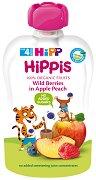 HIPP HiPPiS - Био забавна плодова закуска ябълка и праскова с горски плодове - Опаковка от 100 g за бебета над 4 месеца - продукт