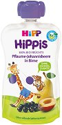 HIPP HiPPiS - Био забавна плодова закуска с круши, сливи и касис - Опаковка от 100 g за бебета над 6 месеца - пюре