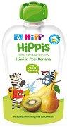 HIPP HiPPiS - Био забавна плодова закуска с круши, банани и киви - Опаковка от 100 g за бебета над 6 месеца -