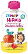 HIPP HiPPiS - Био забавна плодова закуска ябълки, банан и малина с пълнозърнести култури - Опаковка от 100 g за бебета над 6 месеца -