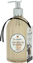 """Vivian Gray Vivanel Grapefruit & Vetiver Cream Soap - Течен сапун в диспенсър с аромат на грейпфрут и ветивер от серията """"Vivanel"""" - продукт"""