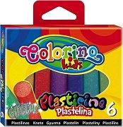 Пластилин с брокат - Комплект от 6 цвята