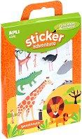 Разкажи забавни истории - Приключения в саваната - Творчески комплект със стикери - играчка