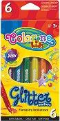 Флумастери с брокатен ефект - Комплект от 6 цвята