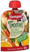 Semper - Зелено смути с ябълка, морков, портокал и джинджифил - Опаковка от 90 g за бебета над 6 месеца - пюре