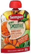 Semper - Зелено смути с манго, морков, ябълка и мента - Опаковка от 90 g за бебета над 6 месеца - пюре