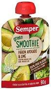 Semper - Зелено смути с круша, авокадо и лайм - Опаковка от 90 g за бебета над 6 месеца - пюре
