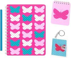 Ученическа тетрадка - Пеперуди : Формат А5 с широки редове и 100 листа - Комплект с молив и тефтерчета -