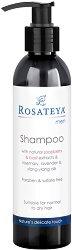Rosateya Men Shampoo for Normal to Dry Hair - Шампоан за мъже със сапунена ядка, босилек и етерични масла за нормална към суха коса - душ гел