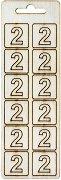 Формички от шперплат - Цифра 2 - Комплект от 12 броя с размер 2 cm