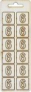Формички от шперплат - Цифра 6 - Комплект от 12 броя с размер 2 cm