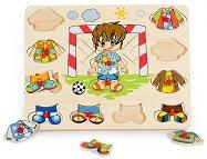 Облечи момчето - Футболист - Детски дървен пъзел - пъзел