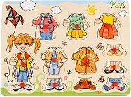 Облечи момичето - Детски дървен пъзел -