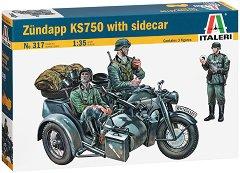 Немски мотор с кош - Zundapp KS 750 - Комплект сглобяем модел и фигури -