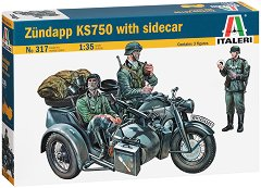 Немски мотор с кош - Zundapp KS 750 - Комплект сглобяем модел и фигури - макет