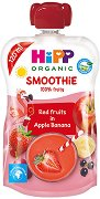 HIPP HiPPiS - Био смути напитка с ябълка, банан и червени плодове - Опаковка от 120 ml за бебета над 12 месеца -