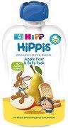 HIPP HiPPiS - Био забавна плодова закуска ябълка, круша и бебешки сухари - Опаковка от 100 g за бебета над 4 месеца -