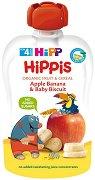 HIPP HiPPiS - Био забавна плодова закуска ябълка, банан и бебешки бисквити - Опаковка от 100 g за бебета над 4 месеца - пюре