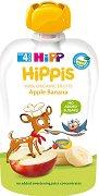 HIPP HiPPiS - Био забавна плодова закуска ябълка и банан - Опаковка от 100 g за бебета над 4 месеца - пюре