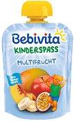 Bebivita - Забавна плодова закуска Мултифрукт - Опаковка от 90 g за бебета над 12 месеца -