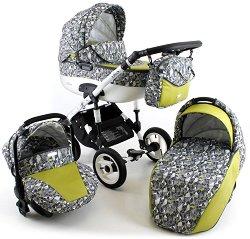 Бебешка количка 3 в 1 - Zarra 2017 - С 4 колела -