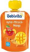 Bebivita - Забавна плодова закуска с ябълка, манго и праскова - Опаковка от 90 g за бебета над 12 месеца -