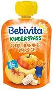 Bebivita - Забавна плодова закуска с ябълка, банани и праскова - Опаковка от 90 g за бебета над 12 месеца - продукт