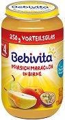 Bebivita - Пюре от круша с праскови и маракуя - Бурканче от 250 g за бебета над 4 месеца - пюре