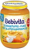 Bebivita - Пюре от сладки картофи със зеленчуци и сметана - Бурканче от 190 g за бебета над 4 месеца -