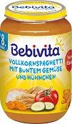 Bebivita - Пюре от спагети със зеленчуци и пилешко месо - Бурканче от 220 g за бебета над 8 месеца - пюре