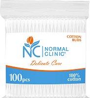 Normal Clinic Delicate Care Cotton Buds - Клечки за уши в плик с цип от 100 ÷ 300 броя - шнола