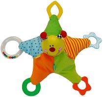 Плюшена звезда - Бебешка играчка с дъвкалки и дрънкалка -